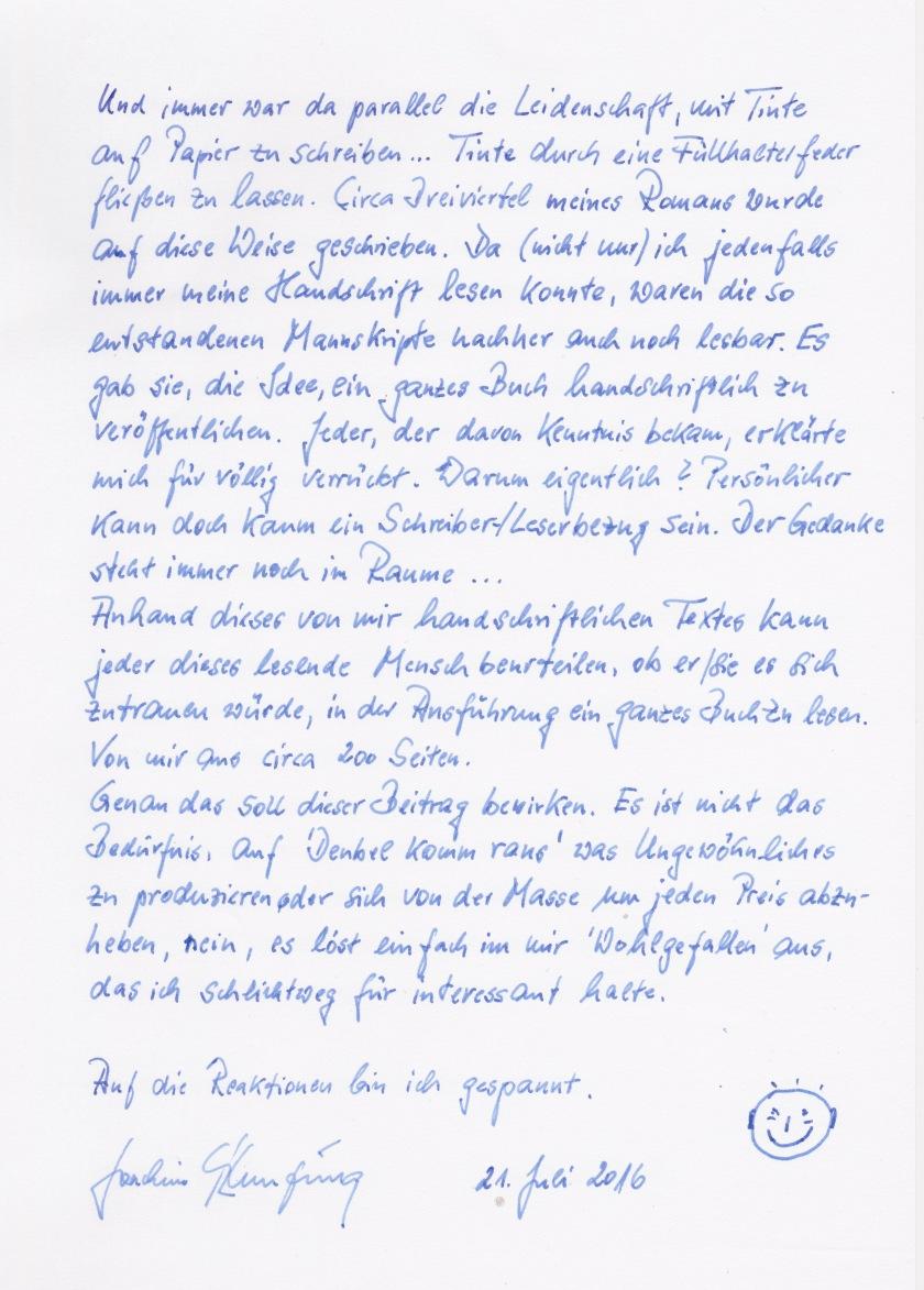 Handschrift..Beitrag Blog